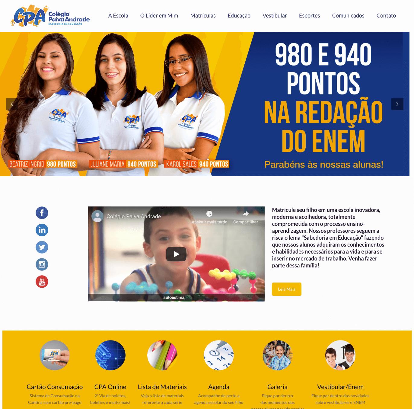 Colégio Paiva Andrade - Criação de Site